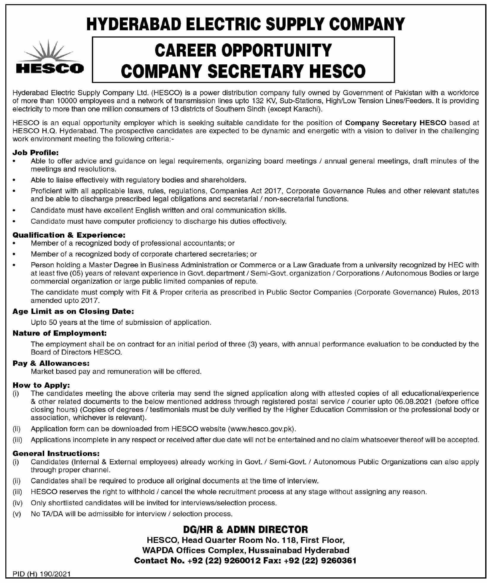 Jobs in Hyderabad Electric Supply Company HESCO July 2021-1