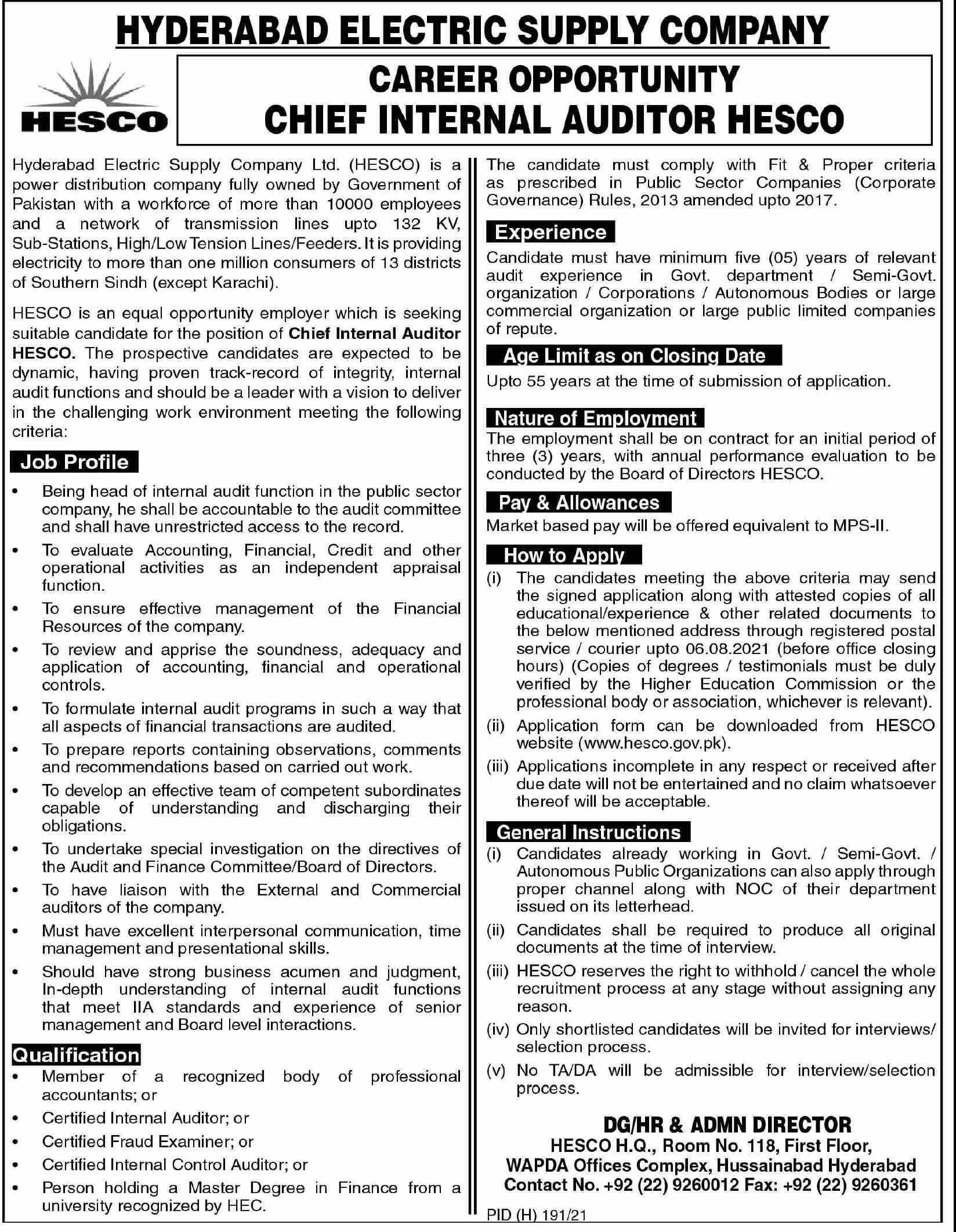 Jobs in Hyderabad Electric Supply Company HESCO July 2021