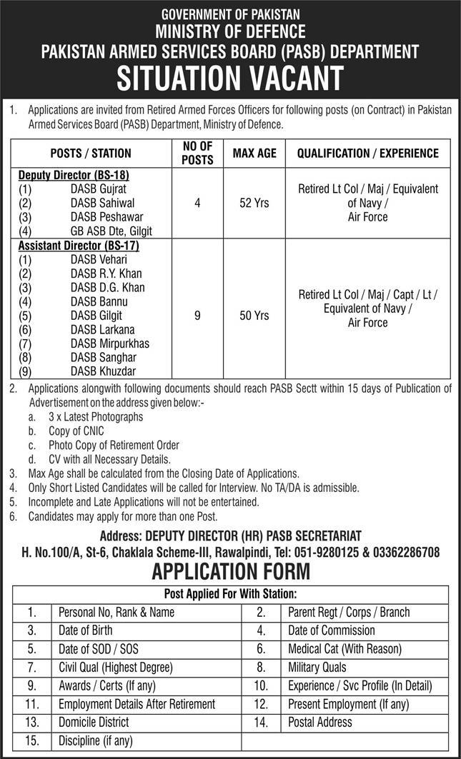 Jobs in Ministry of Defence Govt of Pakistan Islamabad July 2021