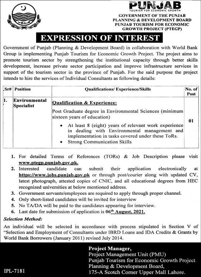 Jobs in Planning and Development Department Lahore July 2021