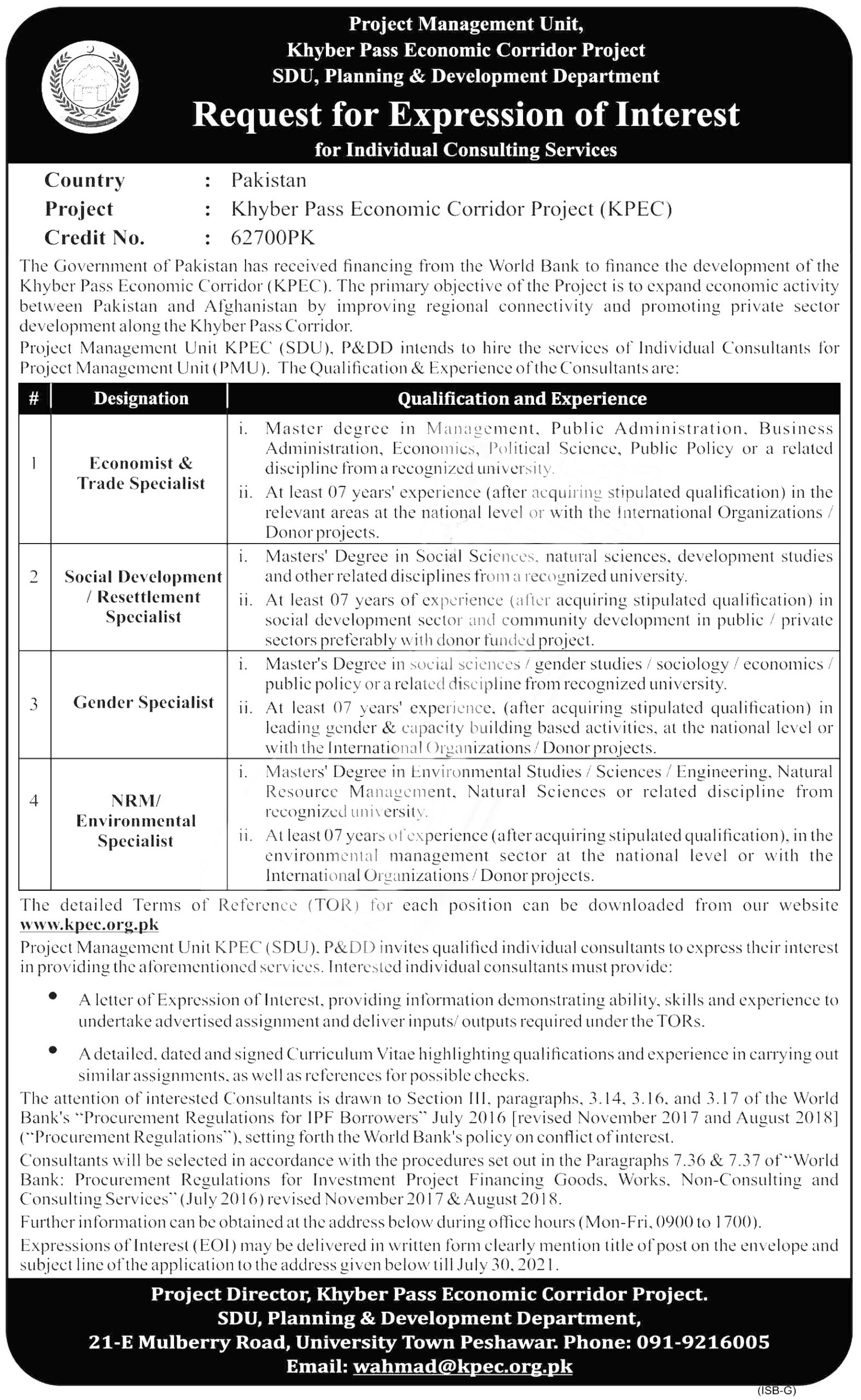 Jobs in Planning and Development Department Peshawar July 2021