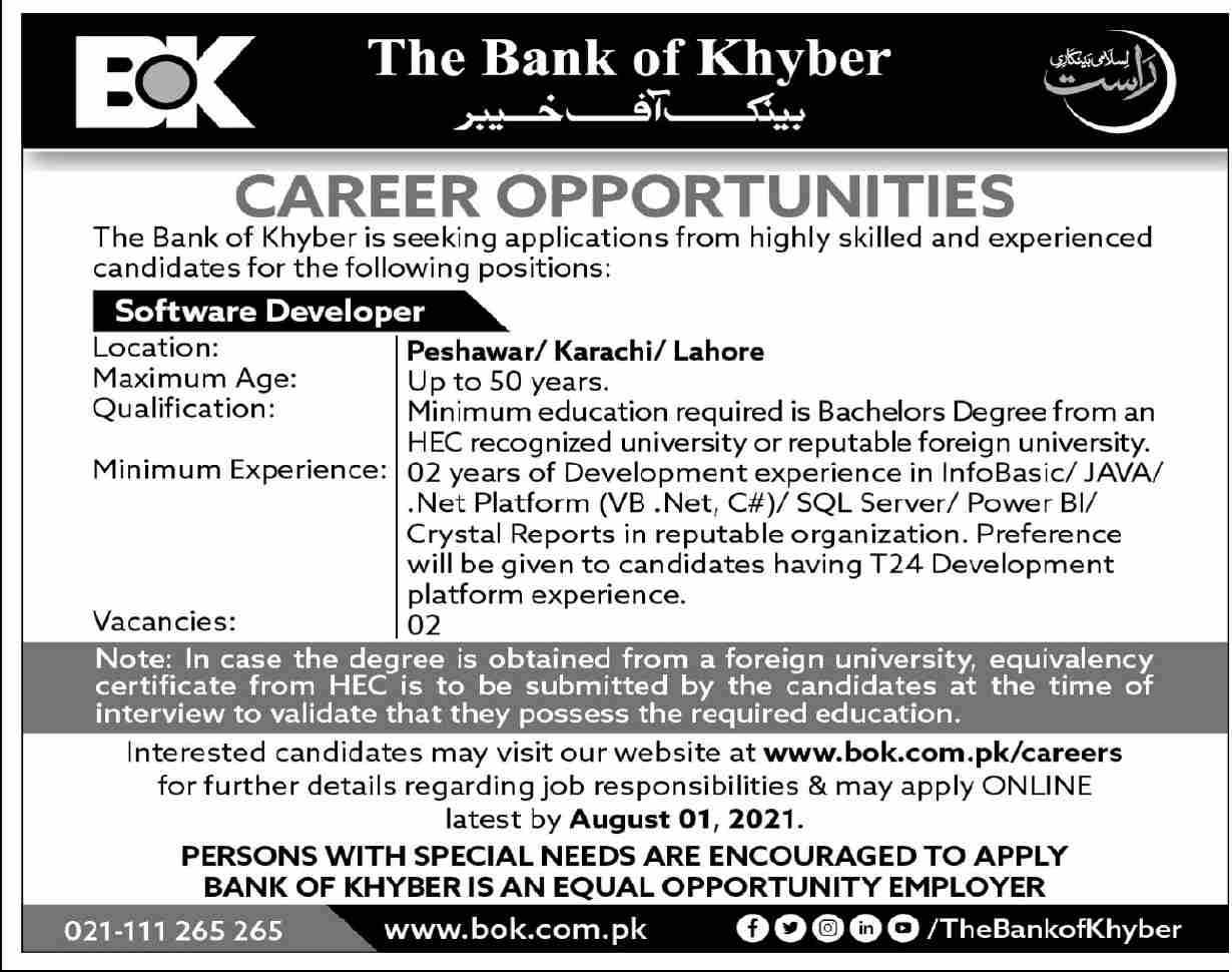 Jobs in The Bank of Khyber Peshawar July 2021