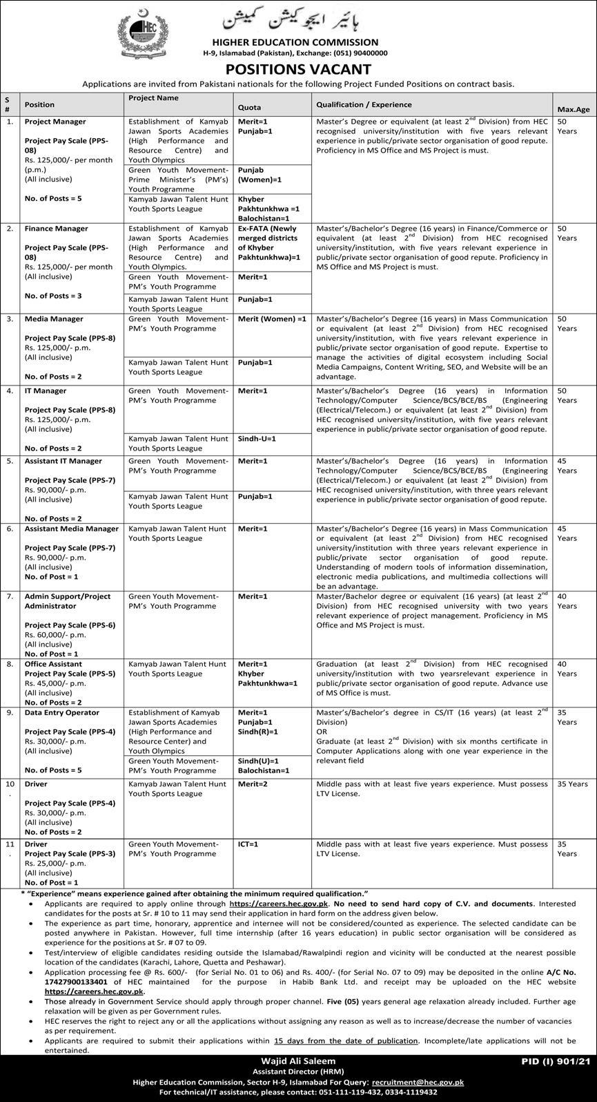Jobs in Higher Education Commission Pakistan HEC Islamabad Aug 2021