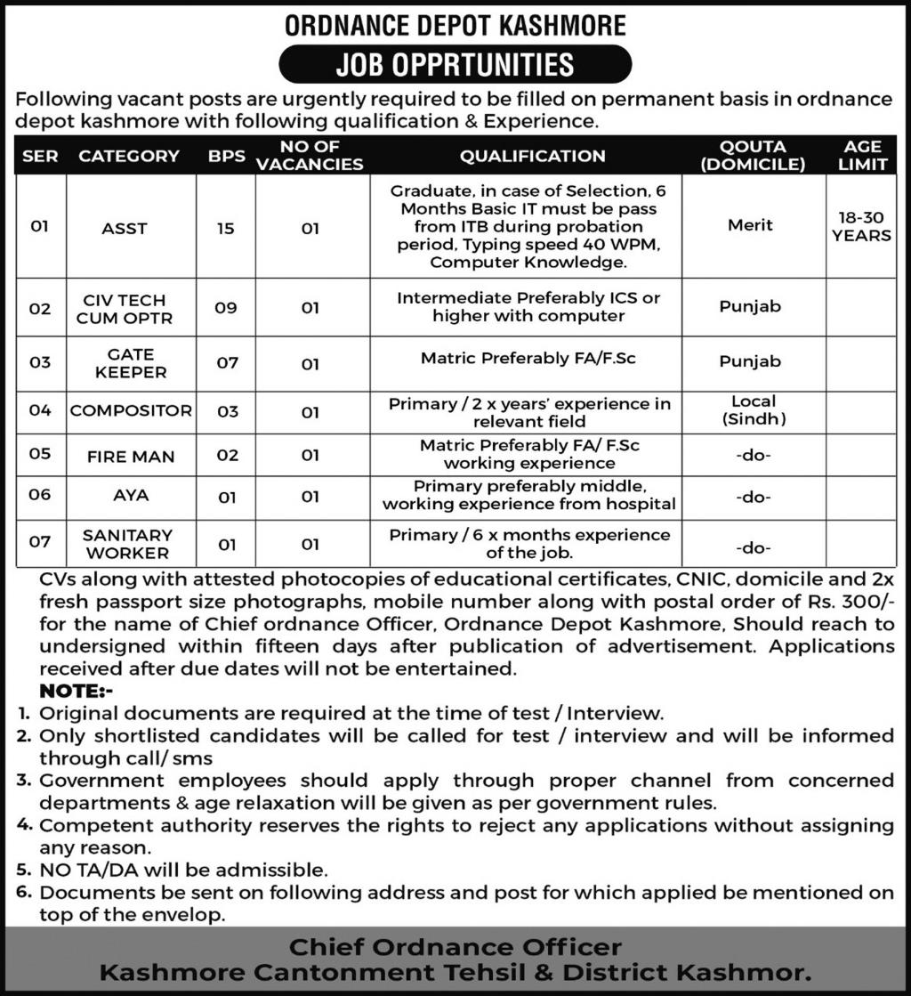 Jobs in Pakistan Army Central Ordnance Depot Kashmore Aug 2021