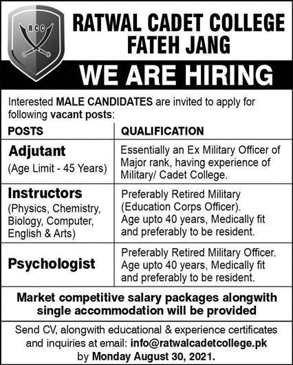Jobs in Ratwal Cadet College Fateh Jang Aug 2021