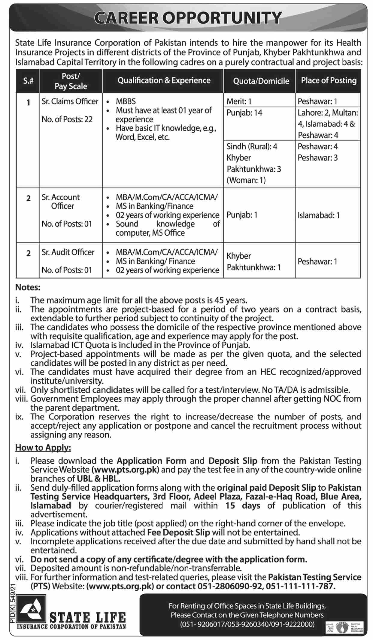 Jobs in State Life Insurance Corporation of Pakistan Islamabad Aug 2021
