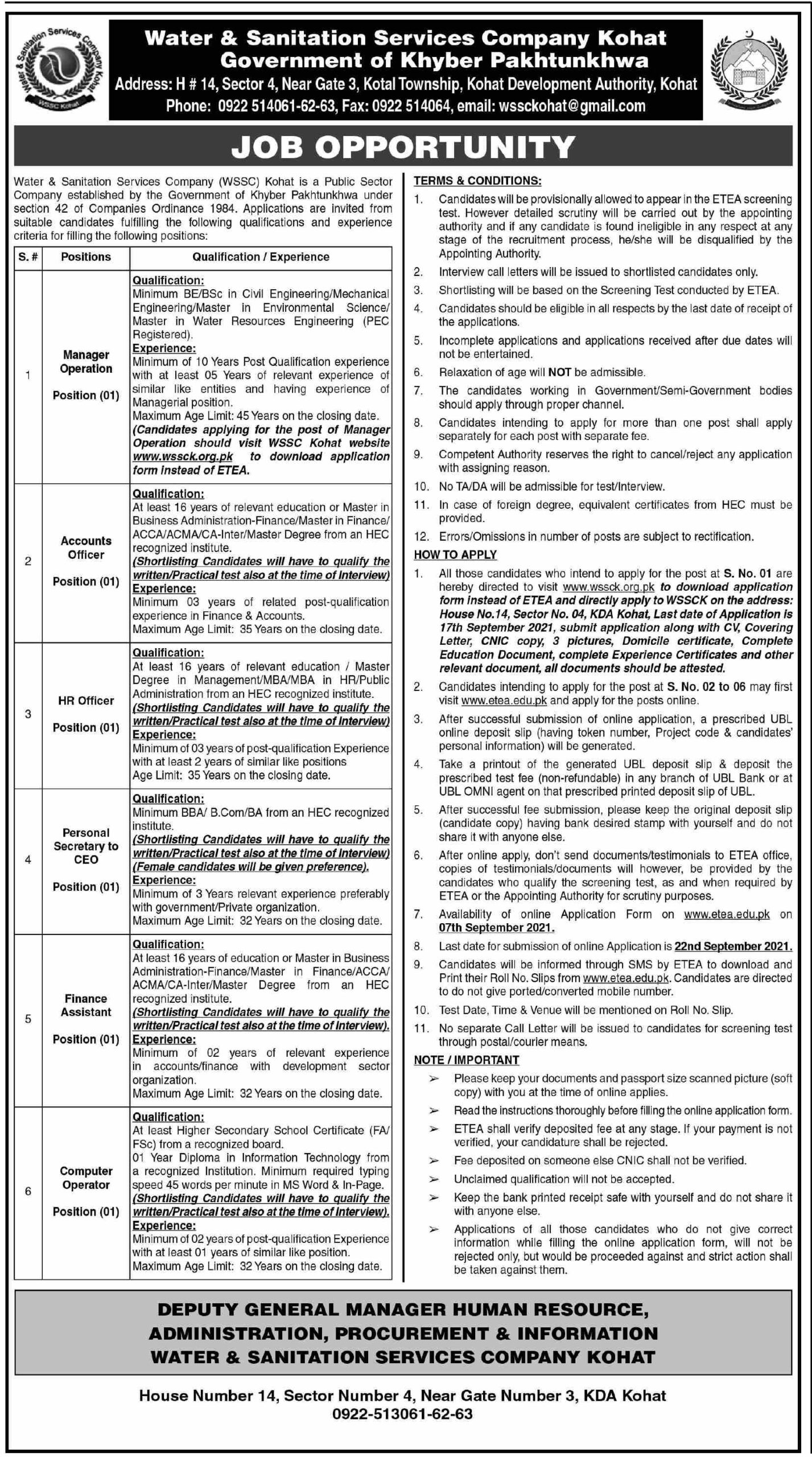 Jobs in Water and Sanitation Services Company WSSC Kohat Aug 2021