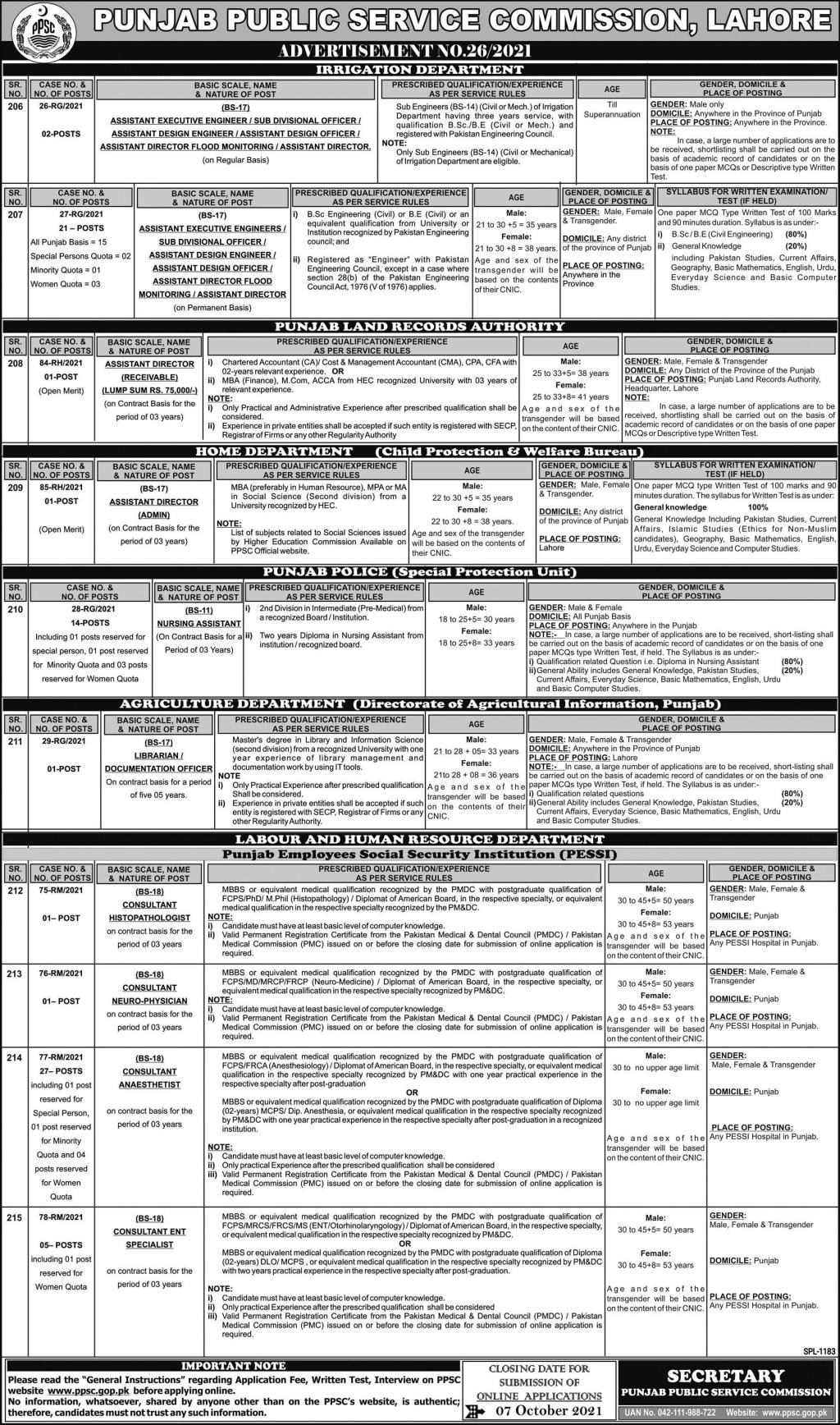 Jobs in Agriculture Department Govt of Punjab Lahore Sep 2021