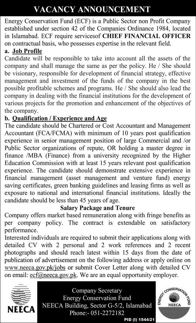 Jobs in Energy Conservation Fund ECF Islamabad Sep 2021