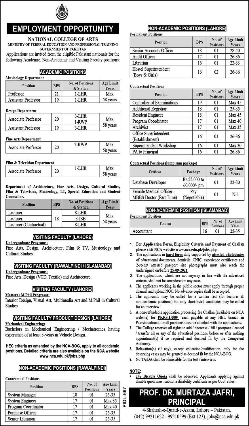 Jobs in National College of Arts NCA Lahore 2021