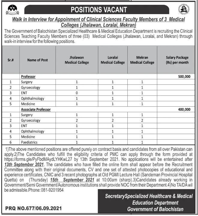 Jobs in Specialized Healthcare and Medical Education Department Loralai 2021