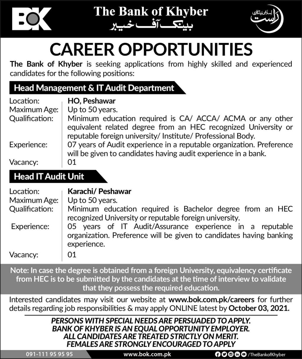 Jobs in The Bank of Khyber Peshawar Sep 2021