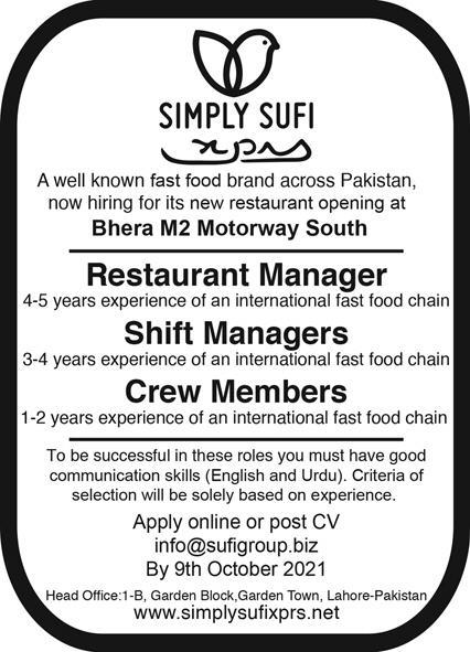 Jobs in Sufi Group of Companies Lahore 2021